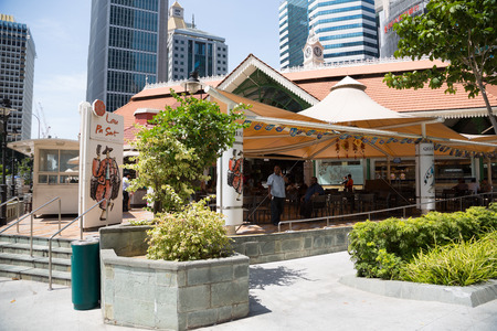 SINGAPORE - FEBRUARY 18, 2015: Lau Pa Sat Festival Market was formerly known as Telok Ayer Market - now it is a popular catering in Singapore. Is a national historic landmark of Singapore.