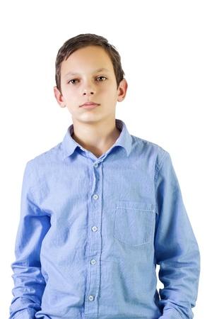 Photo pour Preteen boy portrait over white background - image libre de droit