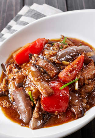 Photo pour Chinese food, Grilled Eggplant with Sauce - image libre de droit