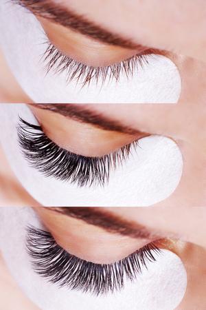 Foto de Eyelash Extension Procedure. Comparison of female eyes before and after. - Imagen libre de derechos