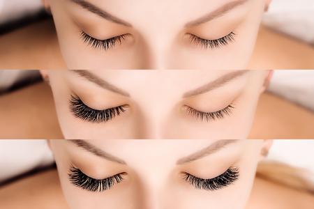 Foto de Eyelash Extension. Comparison of female eyes before and after. - Imagen libre de derechos