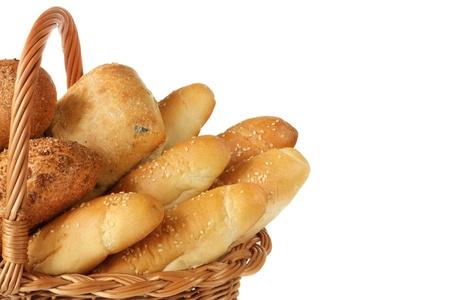 Fresh homemade bread in a wicker basket.
