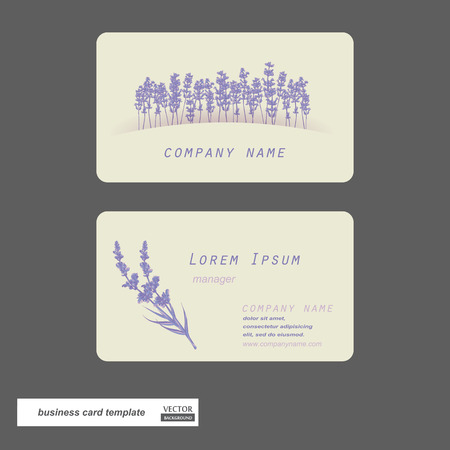 Business cards set. Lavender flower. Vector illustration.のイラスト素材