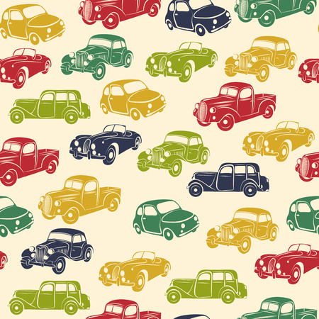 Illustration for Retro car seamless pattern. Vector illustration. - Royalty Free Image