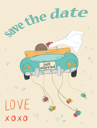 Foto de Just married couple in retro car dragging cans. Wedding card design. Hand drawn vintage save the date card. Vector illustration. - Imagen libre de derechos