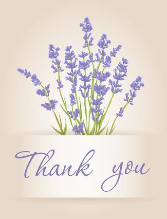 Ilustración de Thank you card with purple lavender flower. Vintage background. Vector illustration. - Imagen libre de derechos