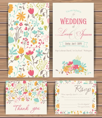 Floral vector card templates. Hand drawn design for Save The Date, Greeting card, birthday cards, invitations. Seamless pattern is masked.  Wood plank vector background is in the separate layer.