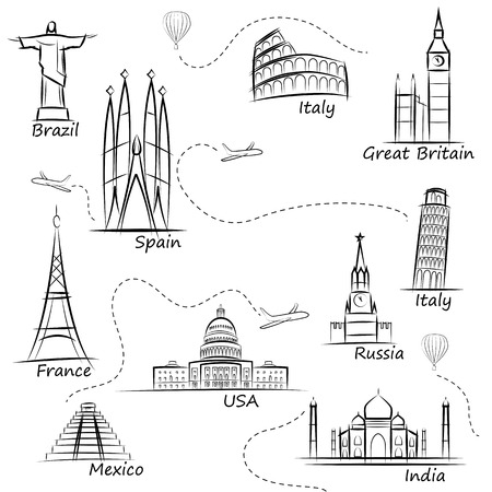 Ilustración de World sights icons set. World s most popular tourist attractions. Vector illustration - Imagen libre de derechos