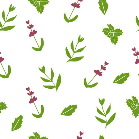 Illustration pour Lavender decorative pattern. Seamless pattern for fabric, paper and other printing and web projects. Hand drawn illustration. - image libre de droit