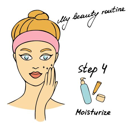 Illustration pour My daily routine. Skin care vector illustration. Correct order to apply skin care products. Step 4 Moisturize - image libre de droit