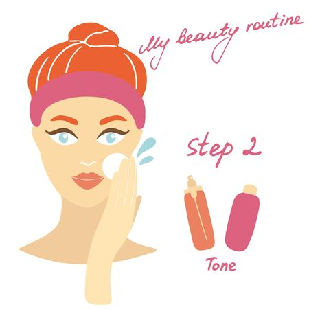 Illustration pour My daily routine. Skin care vector illustration. Correct order to apply skin care products. Step 2 Tone - image libre de droit