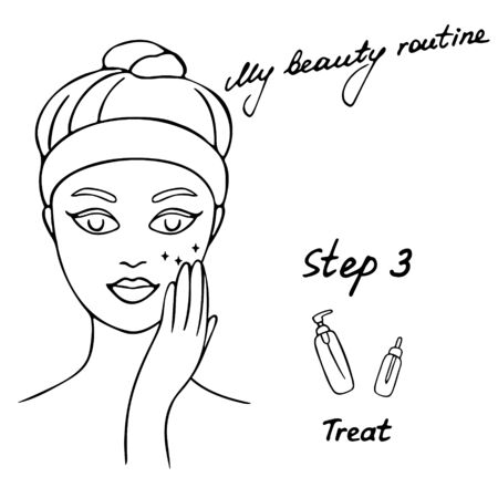 Illustration pour My daily routine. Skin care vector illustration. Correct order to apply skin care products. Step 3 Treat - image libre de droit