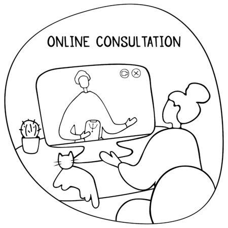 Illustration pour Patient talking to psychologist. Psychotherapy counseling. Online therapy session. Doodle vector graphic. - image libre de droit