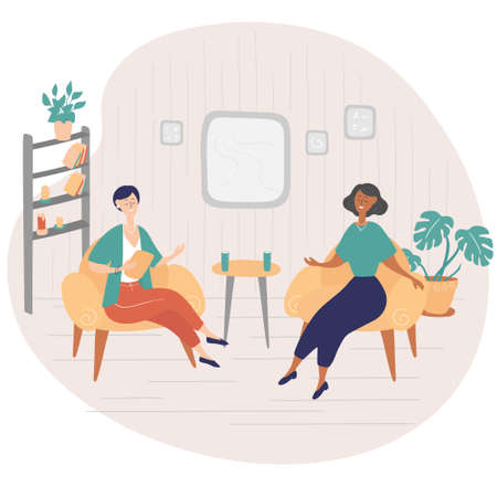 Illustration pour Interview show. Interviewer asks young woman questions. Two women sit on chairs and talk. TV show. Hand drawn vector illustration in cartoon style - image libre de droit