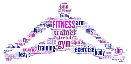 FITNESS  Word collage on white background