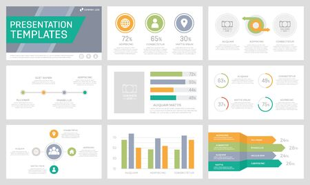 Illustration pour Set of orange, green, grey and turquoise elements for multipurpose presentation template slides with graphs and charts. Leaflet, corporate report, marketing, advertising, book cover design. - image libre de droit