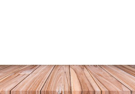Photo pour Empty brown wood floor isolated on white background. for montage of your product - image libre de droit