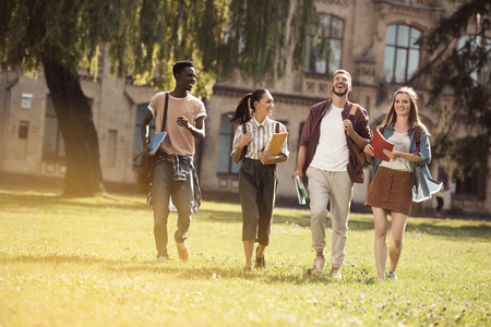 multicultural students in park