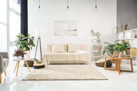 Foto de Minimalistic living room interior with white furniture and plants, lit by bright sunlight - Imagen libre de derechos