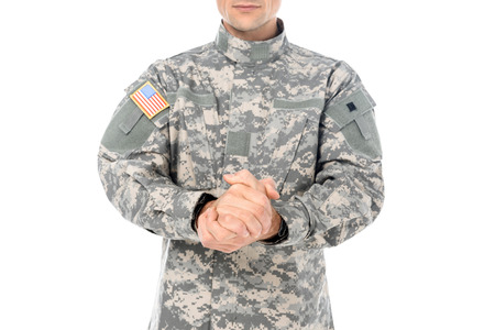 cropped shot of military man in usa camouflage uniform isolated on white