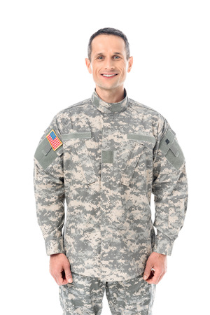 smiling military man in usa camouflage uniform isolated on white