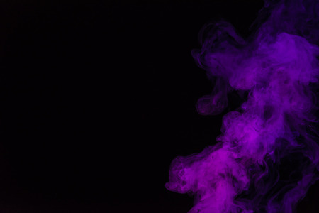 Photo for black background with purple smoke with copy space - Royalty Free Image