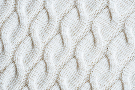 Photo pour full frame image of white knitted woolen fabric background - image libre de droit