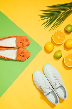 Foto de top view of palm leaf, stylish female slippers shoes and sneakers, lemons, limes and slices of orange - Imagen libre de derechos