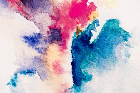 abstract painting with red, purple and blue watercolor paints on white background