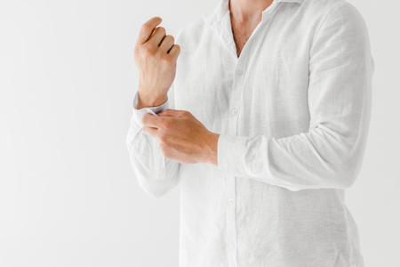Photo pour cropped image of man in linen white shirt isolated on grey background - image libre de droit
