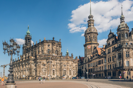 DRESDEN, GERMANY - JULY 24, 2018: people on square near Dresden Cathedral or the Cathedral of the Holy Trinity, Dresden, Germany