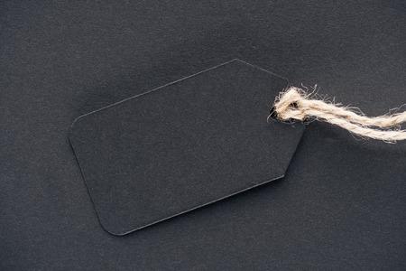 Foto de close up of black empty sale tag for black friday - Imagen libre de derechos