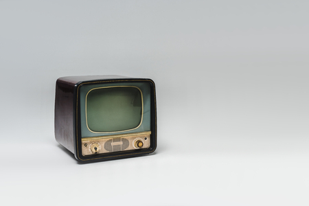 Photo for Vintage television with blank screen on grey surface background - Royalty Free Image