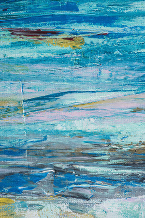 Photo for Close up of blue brush strokes of oil paint - Royalty Free Image