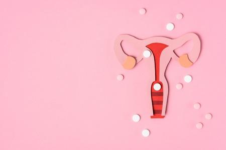 Foto de Top view of female reproductive system and pills on pink background - Imagen libre de derechos