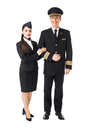 Photo pour Airline crew stewardess and pilot isolated on white background - image libre de droit