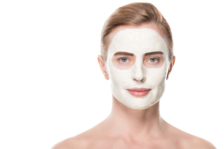 Photo pour Female with facial skincare mask isolated on white background - image libre de droit