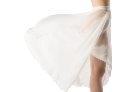 Photo pour cropped view of nude girl in transparent chiffon dress, isolated on white - image libre de droit