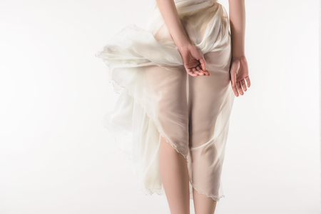 Photo pour back view of nude girl in waving chiffon dress, isolated on white - image libre de droit