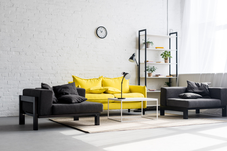Foto per interior of stylish living room with white walls - Immagine Royalty Free