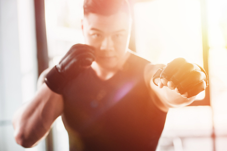 Foto de young sportsman wearing boxing gloves in sunlight - Imagen libre de derechos
