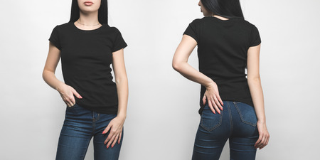 Foto de front and back view of young woman in blank black t-shirt isolated on white - Imagen libre de derechos