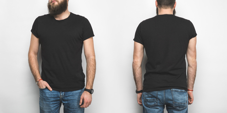 Photo pour front and back view of man in black t-shirt isolated on white - image libre de droit