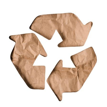 Foto de Top view of paper trash recycle sign isolated on white - Imagen libre de derechos