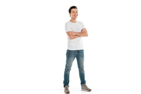 Photo for handsome happy man with crossed arms looking at camera isolated on white - Royalty Free Image