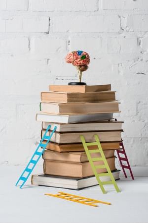 Foto de brain model on pile of books and small colorful step ladders - Imagen libre de derechos