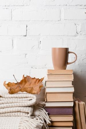 Foto de pile of books, blanket, dry autumn leaf and cup of hot beverage near white brick wall - Imagen libre de derechos