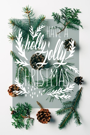 flat lay with green branches and pine cones arranged on white backdrop with have a holly jolly christmas inspiration