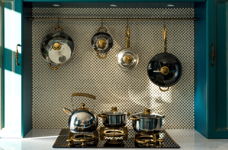 Photo pour various dishware on stove and hanging in kitchen - image libre de droit