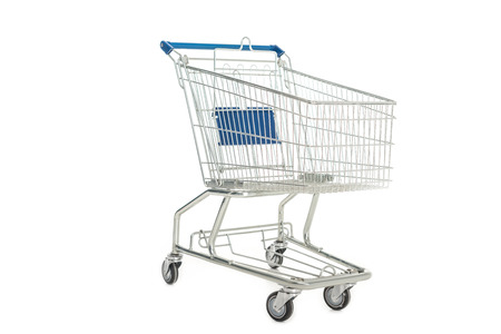 Photo pour close-up view of empty shopping trolley isolated on white - image libre de droit